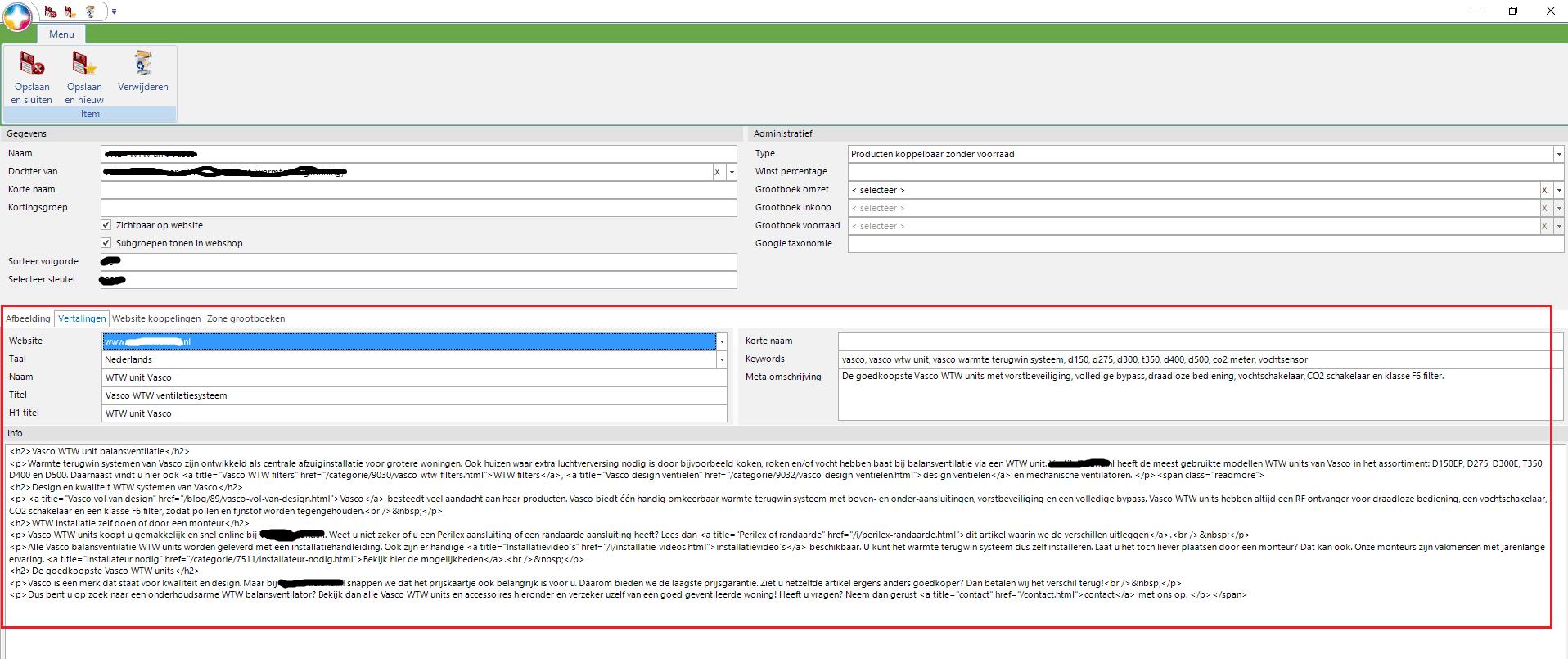 Artikelgroep optimaliseren voor SEO