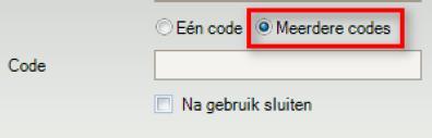 Coupon aanmaken - meerdere codes