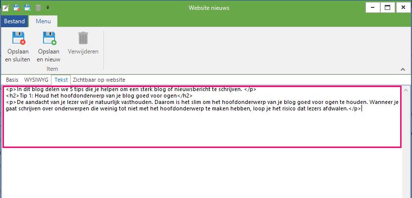website-nieuws-blog-html-invoeren