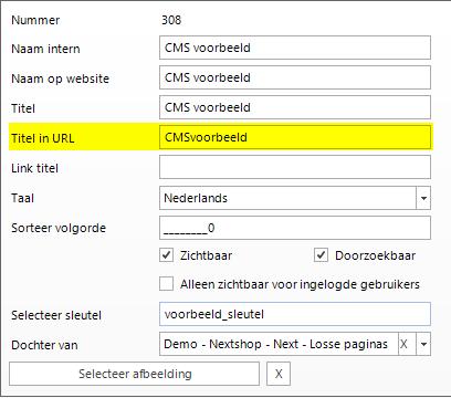 Titel in URL veld
